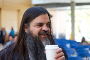 Me drinking coffee.  Photo by Cogdog.