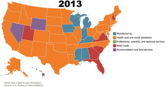 Map of largest employer per state