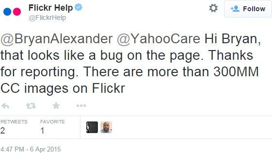 Flickr acknowledges a bug