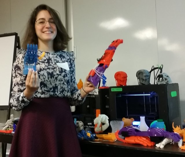 Hazal Uzunkaya shows off some Brandeis MakerLab products.