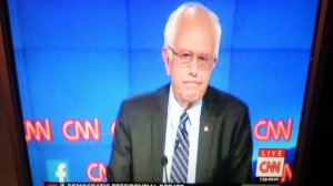 Bernie Sanders on CNN, photo by saskboy