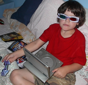 Owain, my son, with a DVD player
