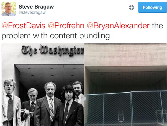 """The problem with content bundling"": Steve Bragaw picks two Washington Post photos for contrast"