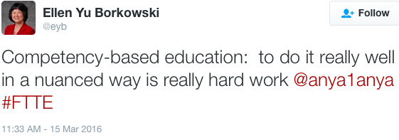 """Ellen Yu Borkowski, """"Competency-based education: to do it really well in a nuanced way is really hard work"""""""