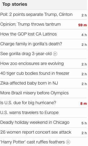 CNN headlines 2016 June 1