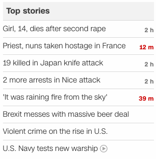 CNN headlines 2016 July 26
