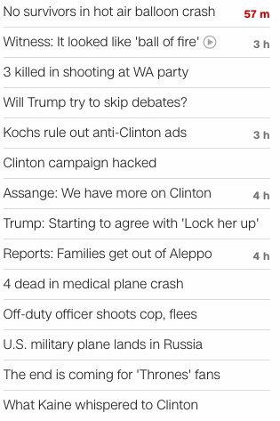 CNN headlines July 30 2016