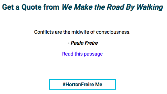 Horton/Freire quote generated by Adam Croom