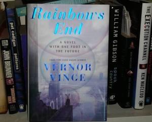 Rainbows End on my bookshelf